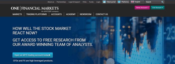 one financial markets сайт компании